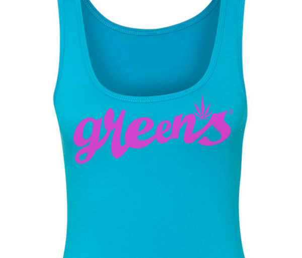 greensbrand-girls-script-design-turquoise-tanktop-closeup