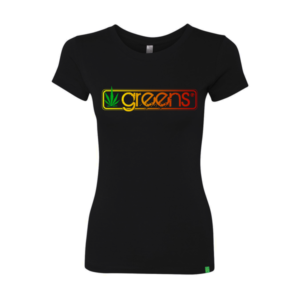 greens®brand-girls-sticks-design-black-tee-front