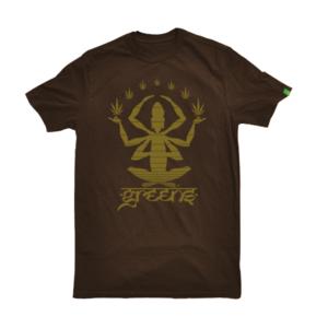 greensbrand Meditate design brown t-shirt