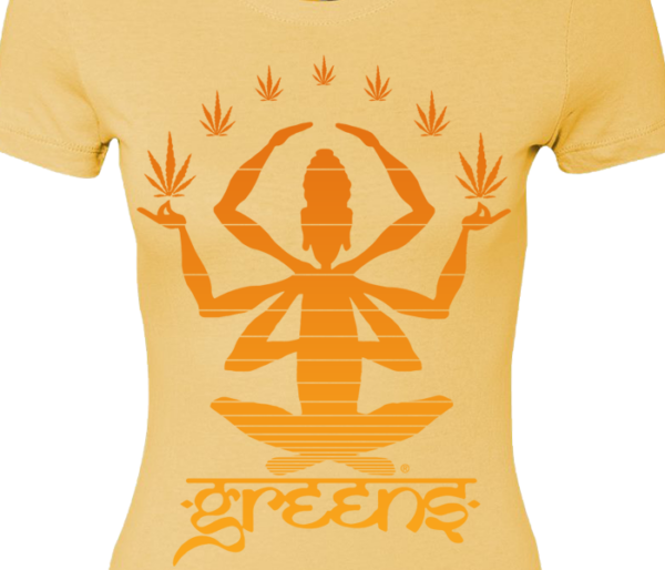 greensbrand girls meditate design banana cream t-shirt closeup