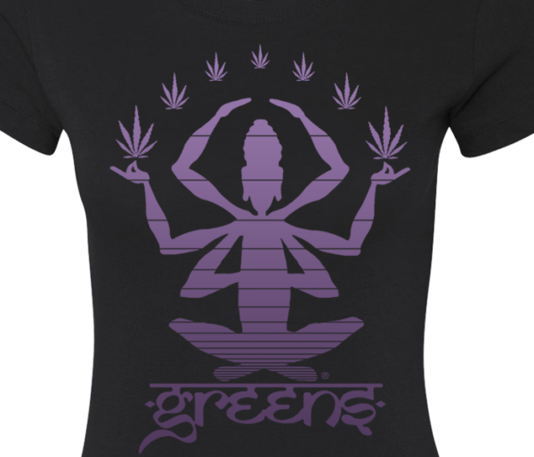 greensbrand girls meditate design black t-shirt closeup